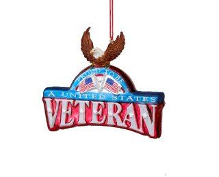 "4.25"" Patriotic ""Proud to be a United States Veteran"" Glass Christmas Plaque Ornament   Decorative Hanging Ornaments"