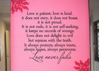 #2 Love is patient, love is kind. It does not envy, it does not boast, it is not proudVinyl wall art Inspirational quotes and saying home decor decal sticker