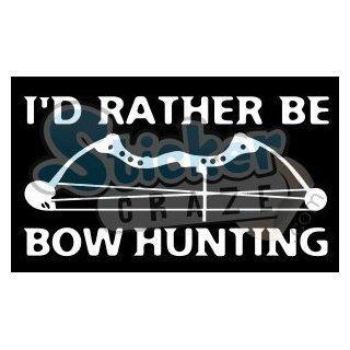 "I'd Rather Be Bow Hunting Deer Vinyl Decal/sticker 6"" White"