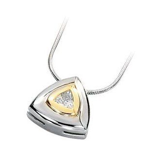 14k White/yellow gold Two tone 3/8 CT Trillion Faceted 5.00MM Moissanite Pendant necklace 18 inch Snake Chain Jewelry