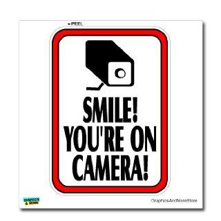 Smile You're On Camera Video Surveillance   Business Sign   Window Wall Sticker Automotive