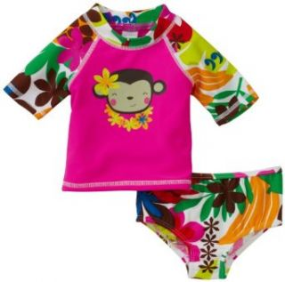 Carter's Baby girls Infant 2 Piece Rash Guard Set, Fuchsia, 24 Months Clothing