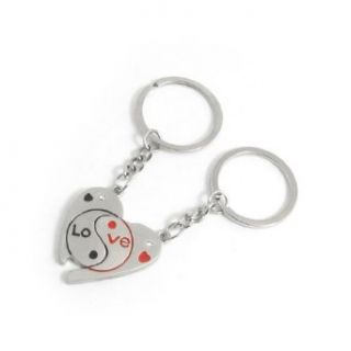 English Letters Print Half Heart Keyring Chain Pair for Lovers Clothing