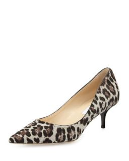 Aza Low Heel Leopard Print Calf Hair Pump   Jimmy Choo   Leopard (38.5B/8.5B)