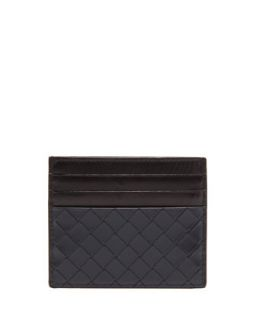 Mens Scolpito Flat Card Case, Navy   Bottega Veneta   Navy
