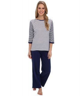 Kenneth Cole Reaction Multi Stripe 3/4 Sleep Top/Crop Pant Set Womens Pajama Sets (Silver)