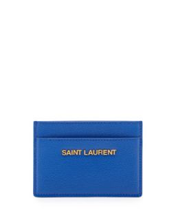 Letters Credit Card Case, Bleu Major   Saint Laurent   Bleu major