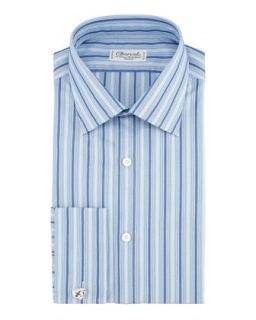Mens Tonal Stripe Dress Shirt, Blue   Charvet   Blue (16.5R)