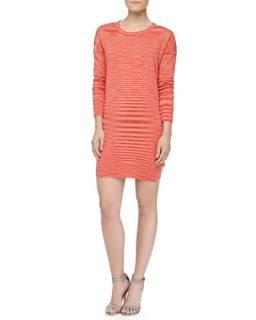 Womens Space dye Long Sleeve Cashmere Dress, Coral   Michael Kors   Coral