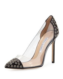 Pachastud PVC Grommet Pump, Black/Clear   Manolo Blahnik   Black/Clear (40.