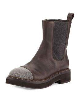 Monili Toe Stretch Inset Ankle Boot   Brunello Cucinelli   Graphite (39.5B/9.5B)