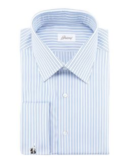 Mens Double Track Stripe Dress Shirt, Blue   Brioni   Blue (16L)
