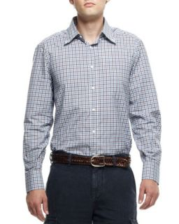 Mens Check Button Down Long Sleeve Shirt, Brown/Blue   Brunello Cucinelli