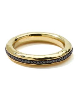 Mens 18k Gold Channel Ring with Black Diamonds, Size 10   Ippolita   Gold (10)