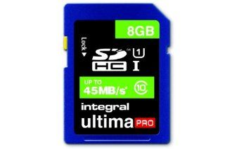 Integral 8GB Ultima Pro SDHC 45MB/sec CL10 High Speed (UHS 1) memory card Computers & Accessories