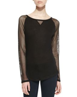 Womens Long Sleeve Mesh Contrast Raglan Top, Black   Robbi & Nikki   Black (XS)