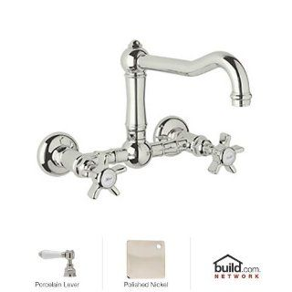 Rohl A1456LPPN 2 Country Kitchen Wall Mounted Bridge Faucet with Porcelain Lever Handles, Polished Nickel   Touch On Kitchen Sink Faucets