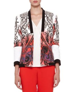Womens Open Front Paisley Jacket   Etro   Coral white black (40/6)