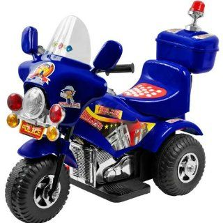 Blue OR black color sent ar random  Police Chopper Kids Electric Ride on Motorcycle Power 3 Wheels Toys & Games