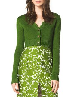 Womens Cropped Cashmere Cardigan   Michael Kors   Grass (LARGE)