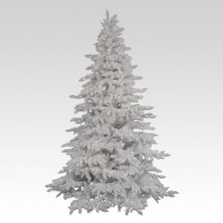 Flocked White Spruce Full Pre lit Christmas Tree   Christmas Trees