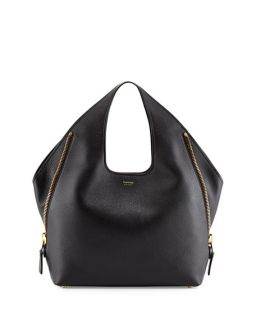 TOM FORD Jennifer Side Zip Leather Hobo Bag, Black