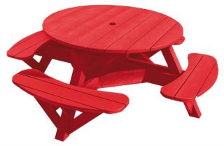 CR Plastic Generations 51 in. Round Recycled Plastic Picnic Table   Picnic Tables
