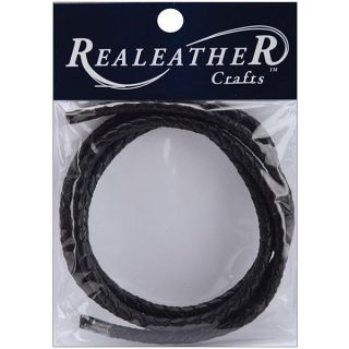 Silver Creek Realeather 24 inch Round Braided Black Leather Cord