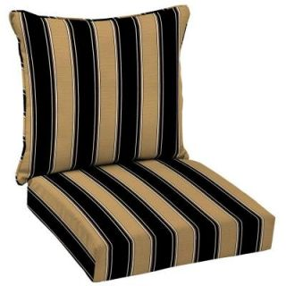 Hampton Bay Twilight Stripe with Roux Welted 2 Piece Pillow Back Outdoor Deep Seating Cushion AC30911B 9D1
