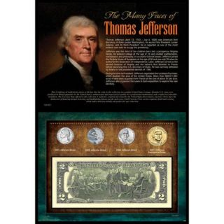 American Coin Treasures Many Faces of Thomas Jefferson Coin and Currency Wall Framed Memorabilia