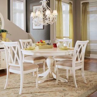 American Drew Camden Round Pedestal Table   White   Table Top (ND)