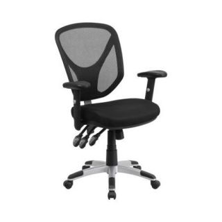 Flash Furniture Mid Back Black Mesh Swivel Task Chair with Triple Paddle Control and Height Adjustable Arms