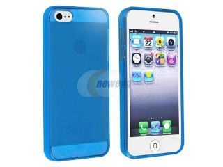 Insten Clear Blue TPU Rubber Skin Case Cover + Mirror Screen Protector Compatible with Apple iPhone 5