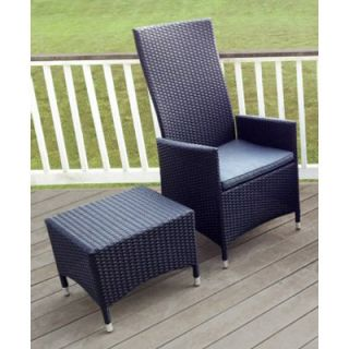 Outdoor Elements Goshen Wicker Hydraulic Recliner Chair with Ottoman/Table   Outdoor Lounge Chairs
