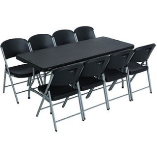 Lifetime Combo  One 6 Commercial Grade Folding Table and 8 Folding Chairs, Black
