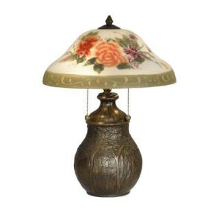 Dale Tiffany 22 in. Hand Painted Floral Table Lamp with Antique Bronze Base TT10891