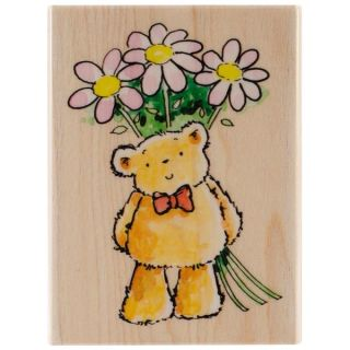Penny Black Mounted Rubber Stamp 3.25 X2.25   Flower Bear