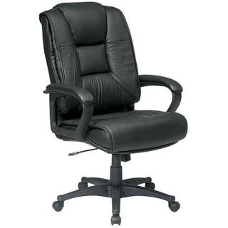 Office Star Executive High Back Glove Soft Leather Chair with Padded Loop Arms