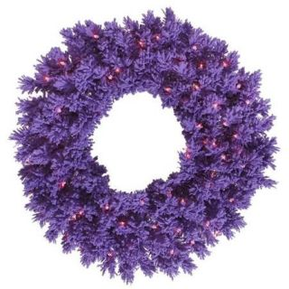 "24"" Pre Lit Flocked Purple Pine Artificial Christmas Wreath   Purple Lights"