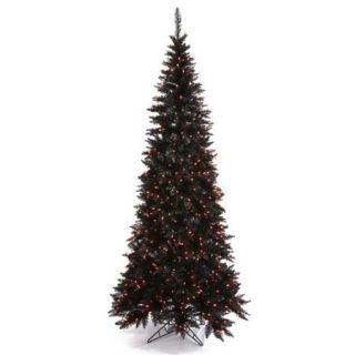 7.5' Pre Lit Spooky Black Fir Slim Artificial Christmas Tree   Orange Lights