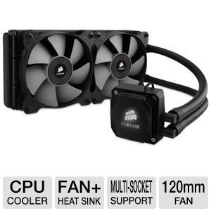 Corsair Hydro Series CW 9060009 WW H100i Extreme Liquid/Water CPU Cooler   2 x 120mm Fan, Multi socket Support, built in Corsair Link