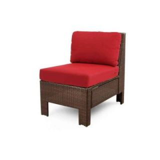 Hampton Bay Beverly Patio Sectional Middle Chair with Cardinal Cushion 65 510233M