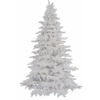Vickerman Pre Lit 4.5' Flocked White Spruce Artificial Christmas Tree, Dura Lit, Clear Lights