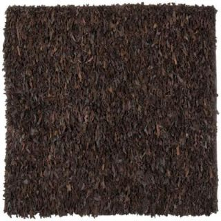 Safavieh Leather Shag Dark Brown 8 ft. x 8 ft. Square Area Rug LSG421D 8SQ