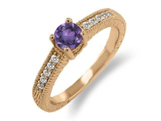 0.55 Ct Round Purple Amethyst White Sapphire 18K Rose Gold Engagement Ring