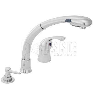 Delta 474 Waterfall Single Handle Pull Out Kitchen Faucet w/Soap Dispenser   Chrome