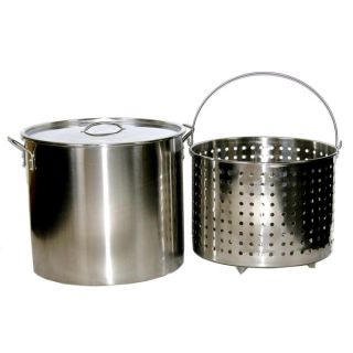 80 quart Stainless Steel Stock/ Brew Pot with Deep Steamer Basket and