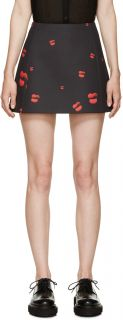 Neil Barrett Black & Red Lips Print Miniskirt