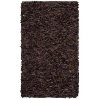 Safavieh Leather Shag Dark Brown 4 ft. x 6 ft. Area Rug LSG421D 4   Mobile