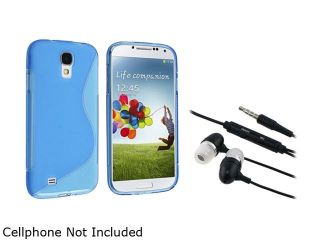 Insten Blue S Line TPU Gel Skin Case Cover + Black Headphone Compatible with Samsung Galaxy S4 i9500